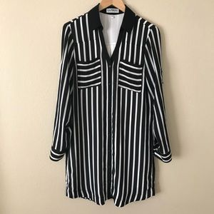 Express Portofino Shirt Dress Black White Stripe